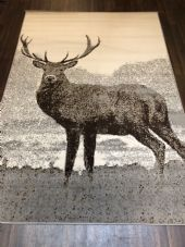Modern Approx 8x5ft 160x230cm Woven Backed Quality rug stag Light Grey/Creams